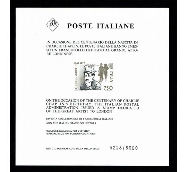 1989 Charlie Chaplin raro foglietto pubblicitario tiratura 6000