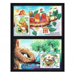 2017 India Children's Day nest - Uccelli 2 foglietti MNH