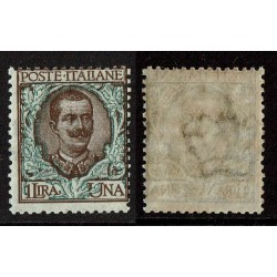 1901 Regno Floreale 1 Lira Sas.77 Nuovo MNH/**