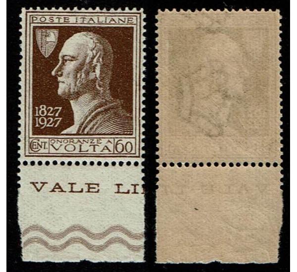 1927 Alessandro Volta 60 cent Sas.212 MNH/** ottima centratura
