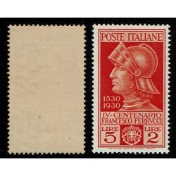 1930 Regno Francesco Ferrucci 5lire + 2Lire Sas.280 MH/**