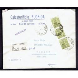 1959 Raccomandata da Cecina a Wohlrn in Svizzera