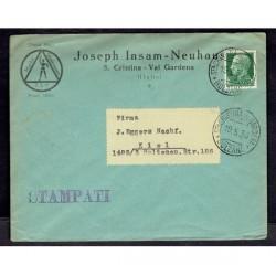 1936 Lettera Stampe da S.Cristina Valgardena a Kiel