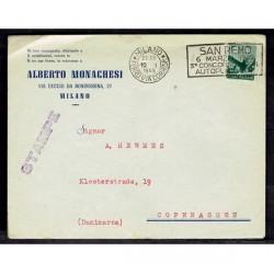 1949 Lettera Stampe da Milano a Copenaghen 8Lire democratica isolato