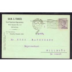1922 Cartolina commerciale Genova Hillerod Danimarca