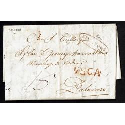 1838 Prefilatelica da Noto a Palermo annullo MSGA
