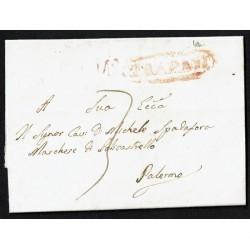 1855 Prefilatelica da Trapani a Palermo con testo