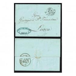 1858 Prefilatelica da Firenze annullo rosso a Lucca con testo
