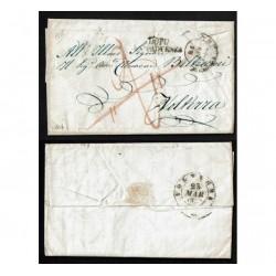 1855 Prefilatelica da Firenze a Volterra annullo dopo la partenza