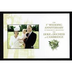 2016 Jersey Matrimonio Reale Duchi Cambridge foglietto MNH/**