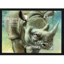 2018 Guernsey Rinoceronte Nero foglietto MNH/**