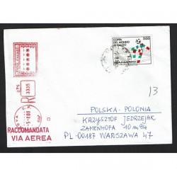 1988 Italia 90 Ciao isolato su Raccomandata per Polonia