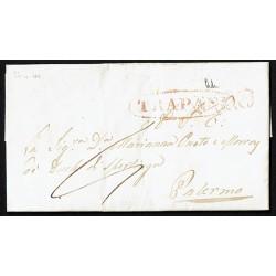 1844 Prefilatelica da Trapani ovale rosso a Palermo