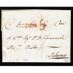 1804 Prefilatelica da Termini a Palermo Messina Montagne (Mes.Mon.)