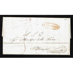 1840 Prefilatelica da Noto a Licata via Siracusa Palermo