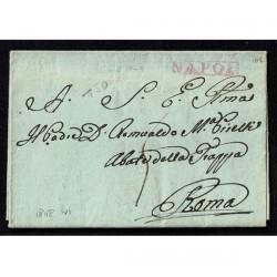 1808 Prefilatelica da Napoli a Roma con testo