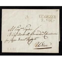 1825 Prefilatelica da Venezia a Udine con testo