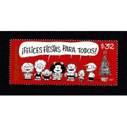 2017 Argentina Auguri di Natale Mafalda unusual braille