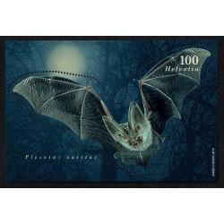 2012 Svizzera Pipistrello in rilievo foglietto unusual
