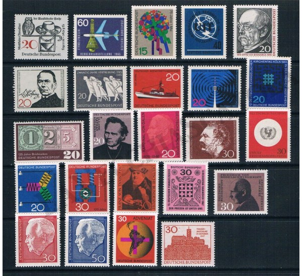 1965/1967 Germania lotto di 24 francobolli MNH/**