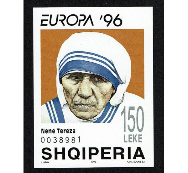 1996 Albania Madre Teresa foglietto non dentellato