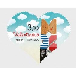 2017 Croazia San Valentino francobollo forma Cuore