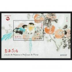 2018 Macao uccelli e i fiori primaverili - foglietto