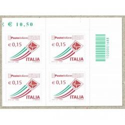 2015 Posta Italiana 0,15€ quartina con Codice a Barre 1688