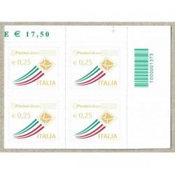 2013 Posta Italiana 0,25€ quartina con Codice a Barre 1373