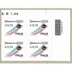 2010 Posta Italiana 0,10€ quartina con Codice a Barre 1319