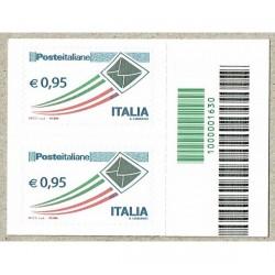 2014 Posta Italiana 0,95€ coppia con Codice a Barre 1630