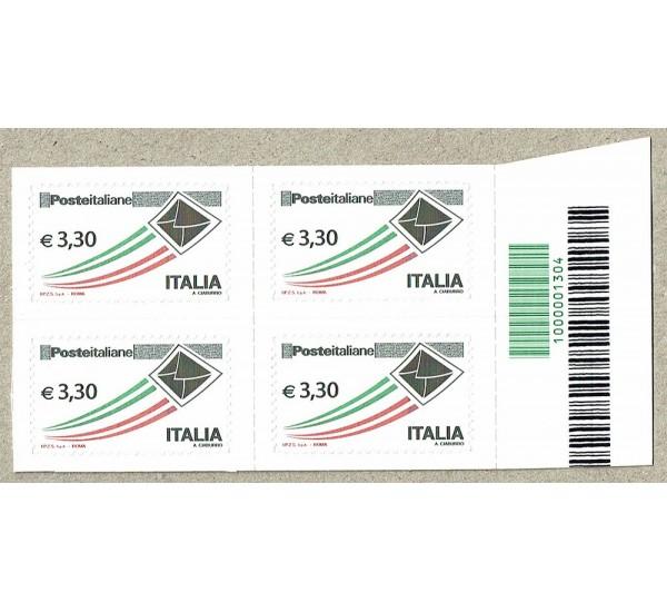 2009 Posta Italiana 3,30€ quartina con Codice a Barre 1304