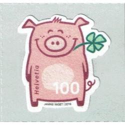 2019 Svizzera Maialino portafortuna floccato unusual stamps