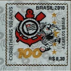 2010 Brasile Unusual stamps stoffa - 100 anni Corinthians