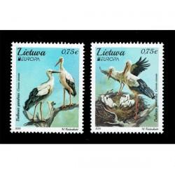 2019 Lituania Emissione Europa Uccelli Cicogne