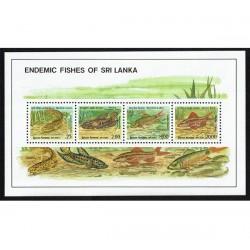 1990 Sri Lanka tematica pesci foglietto MNH/**