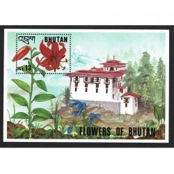 1994 Bhutan tematica fiori foglietto MNH/**