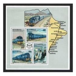 1992 Botswana tematica Treni foglietto MNH/**