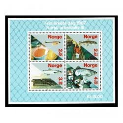 1987 Norvegia Giornata del francobollo Produzione del salmone