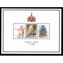 1988 Norvegia compleanno Re Olav foglietto