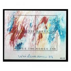 1989 Norvegia Giornata del francobollo Arte contemporanea Weidemann