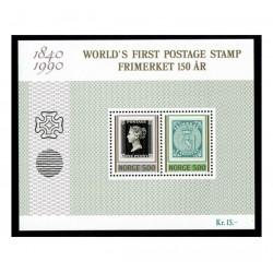 1990 Norvegia 150° del primo francobollo