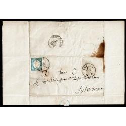 1861 Due Grana su lettera con testo da Aquila a Sulmona - Risorgimentale
