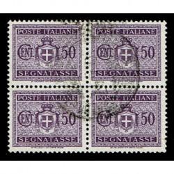 1945 Luogotenenza Segnatasse 50c Sas.79 Quartina usata