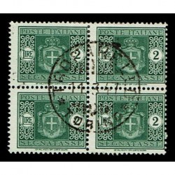 1945 Luogotenenza Segnatasse 2 lire Sas.82 Quartina usata - Trofarello