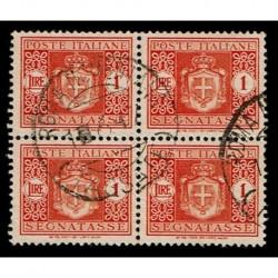 1945 Luogotenenza Segnatasse 1 Lira Sas.92 Quartina usata