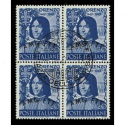 1949 Trieste A Sas.49 Lorenzo il Magnifico Quartina annullata