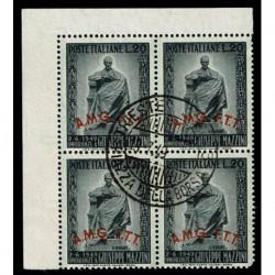 1949 Trieste A Sas.47 Giuseppe Mazzini Quartina annullata