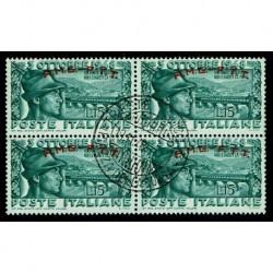 1948 Trieste A Sas.33 Alpini Bassano del Grappa Quartina annullata