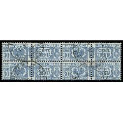 1927-32 Pacchi Postali 30cent Sas.27 Quartina annullata